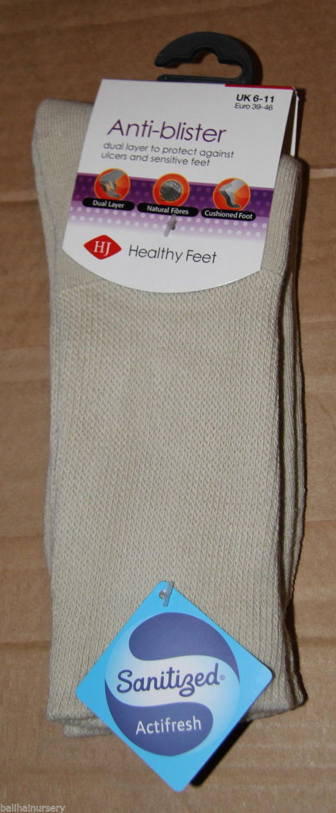 HJ Hall Anti-Blister Dual Skin Socks Oatmeal HJ443