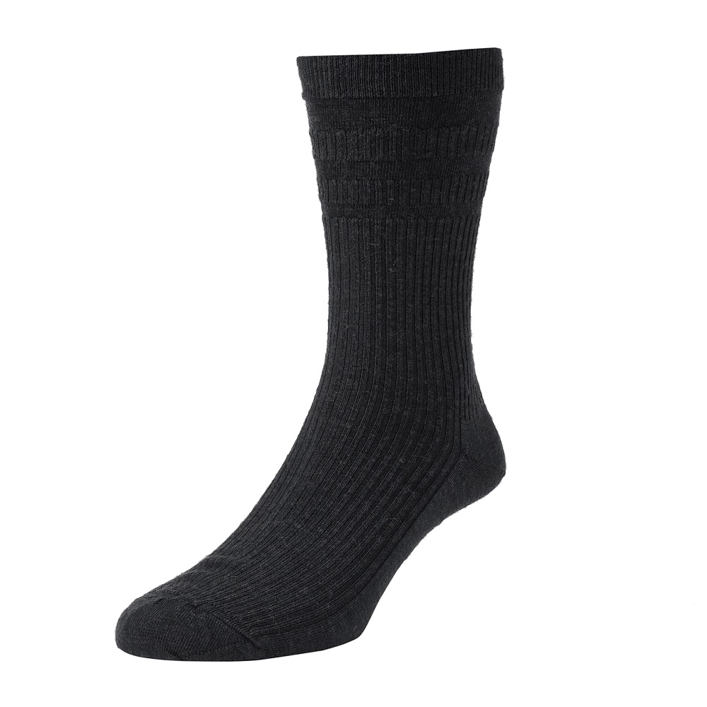HJ Hall Softop Mens Wool Socks size 11-13 Black  HJ90