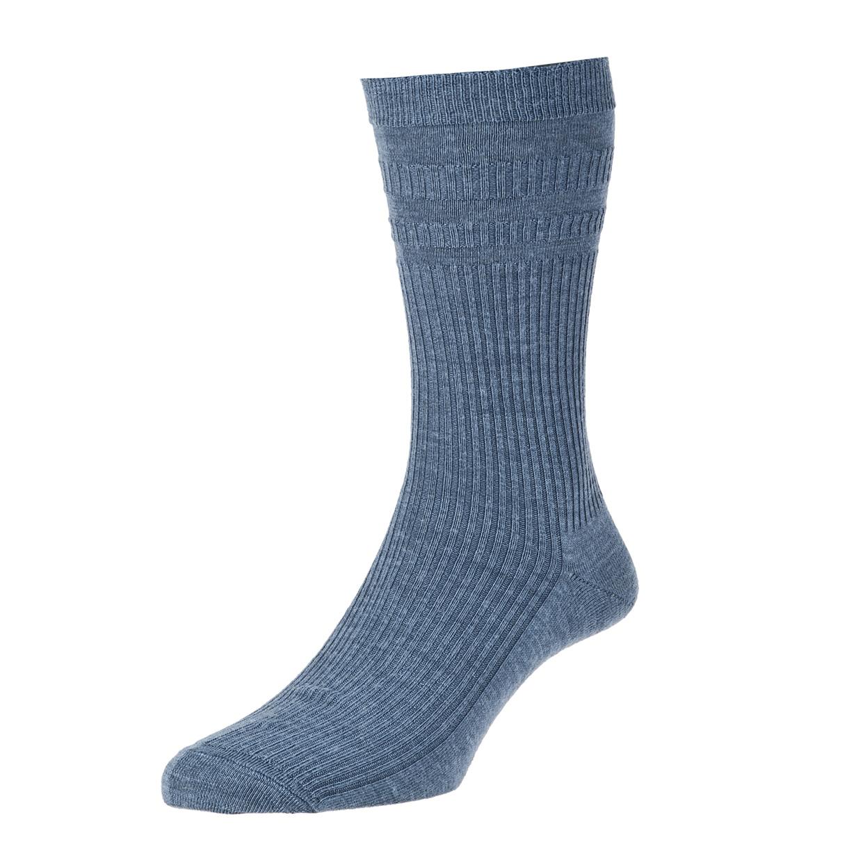 HJ Hall Softop Mens Wool Socks size 6-11 Slate Blue  HJ90