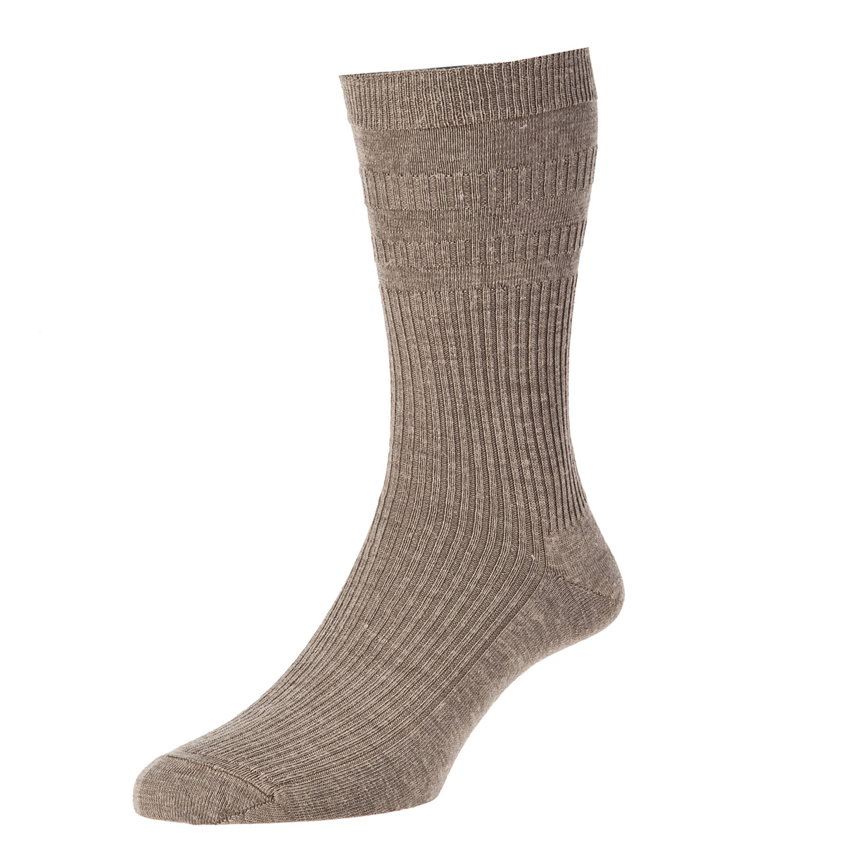 HJ Hall Softop Mens Wool Socks size 11-13 Taupe  HJ90