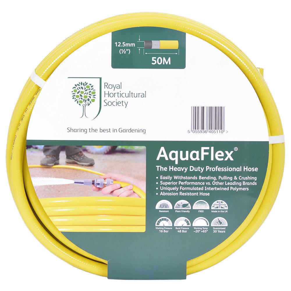 RHS AquaFlex 50m Garden Hose 1/2 inch stronger than tricolflex